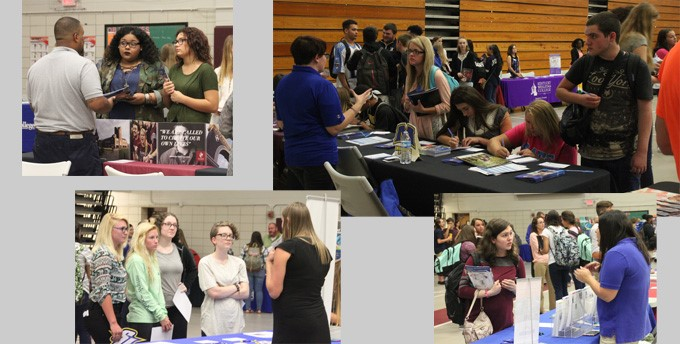 Students talking with various colleges during the College Fair on September 7, 2016.