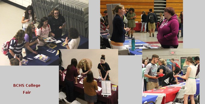 Students talking with various colleges during the College Fair on September 7, 2016