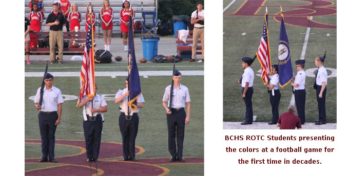 BCHS ROTC presenting the colors at a recent football game.